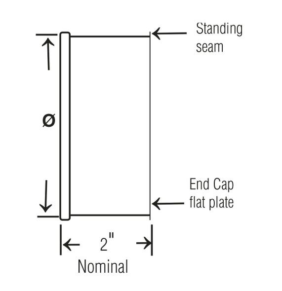 End Cap Galv 22ga 3QF  L=2.00