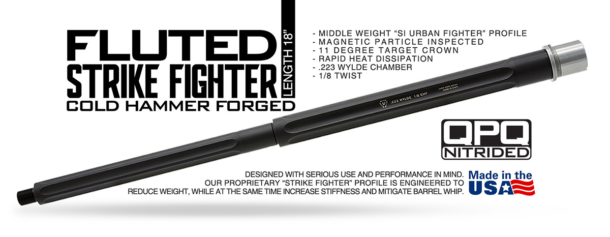 Strike Industries Strike Fighter Fluted AR15 18 Inch Barrel