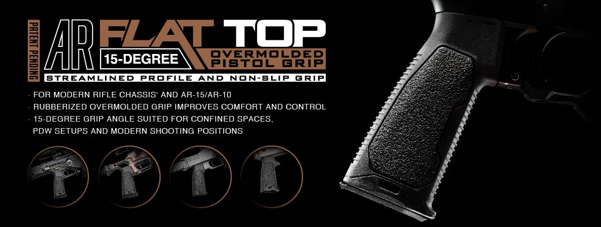 Strike Industries Flat Top Overmolded  AR Pistol Grip