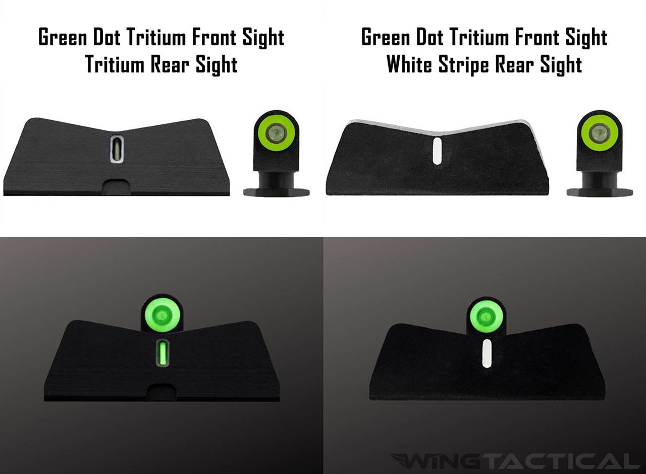 XS Sight Systems Standard Dot Tritium Sights for Glock 17, 19, 22-24, 26, 27, 31-36, 38,45 (DXT2/DXW2)