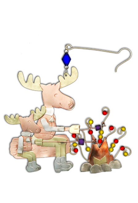 Moose by the Campfire Ornament