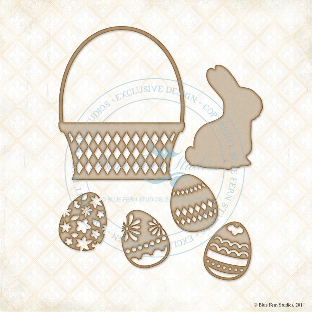 Blue Fern Studios - Chipboard - Bunny Basket Set (997319)