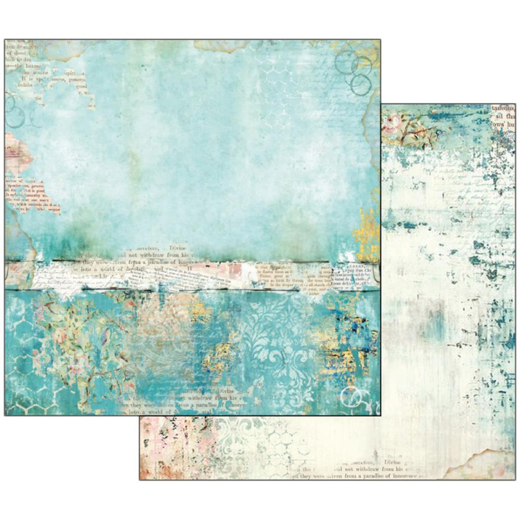 Stamperia - Wonderland - Double sided 12x12 Paper - Turquoise Texture  SBB534