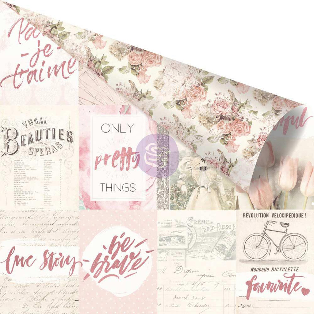 Prima - Pink Foiled Double-Sided 12x12 Paper - Love Story - Notes That Last Forever