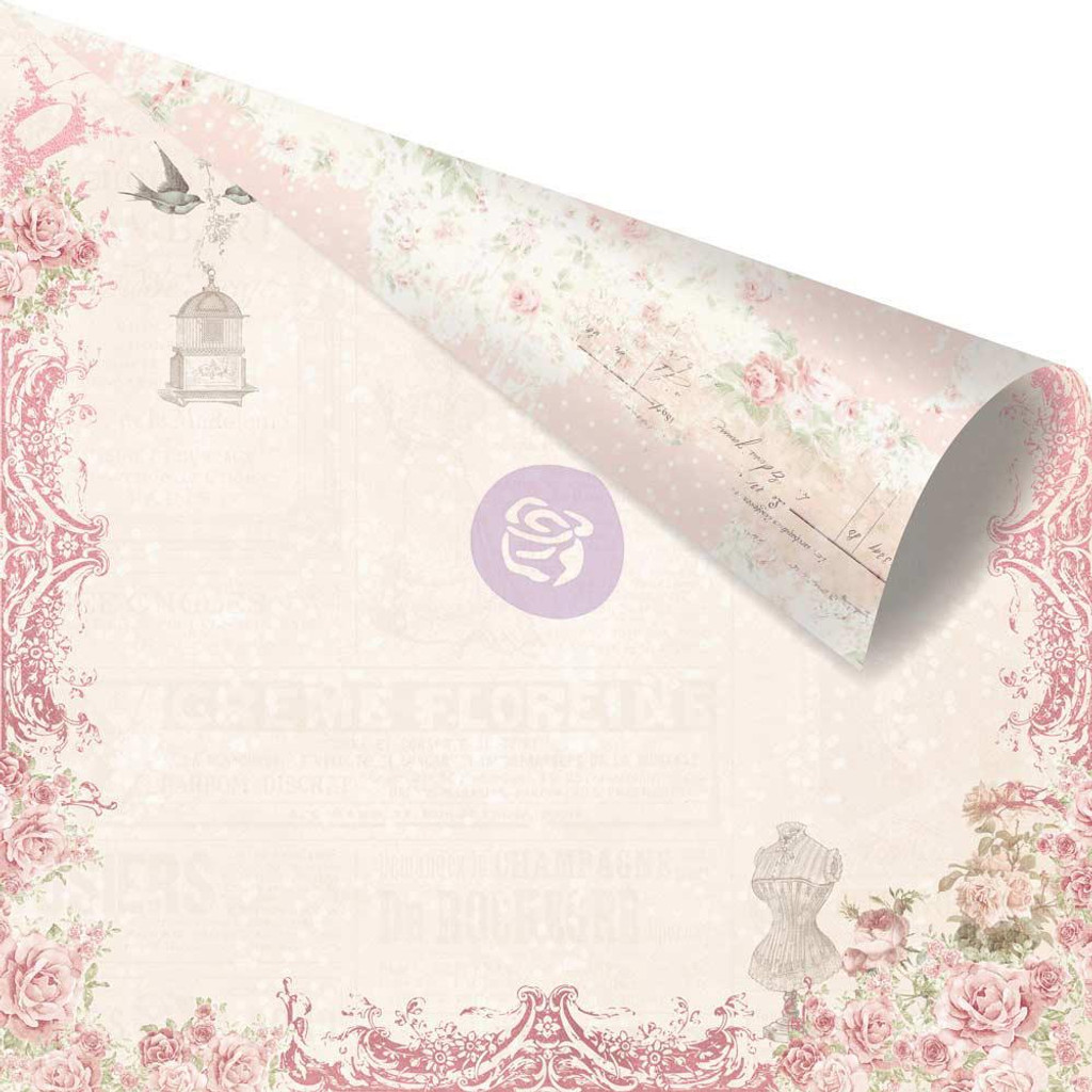 Prima - Pink Foiled Double-Sided 12x12 Paper - Love Story - Love On Top