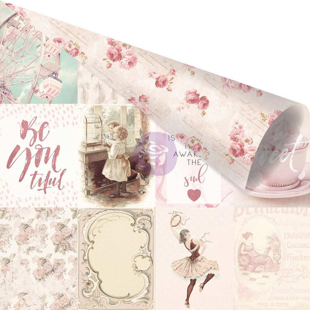 Prima - Pink Foiled Double-Sided 12x12 Paper - Love Story - My Favorite Moments With You