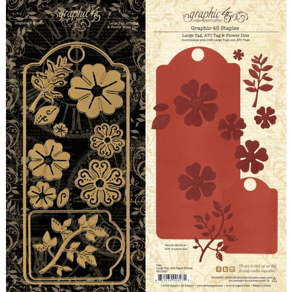 Graphic 45 Staples - Large Tag, ATC Tag & Flower Dies