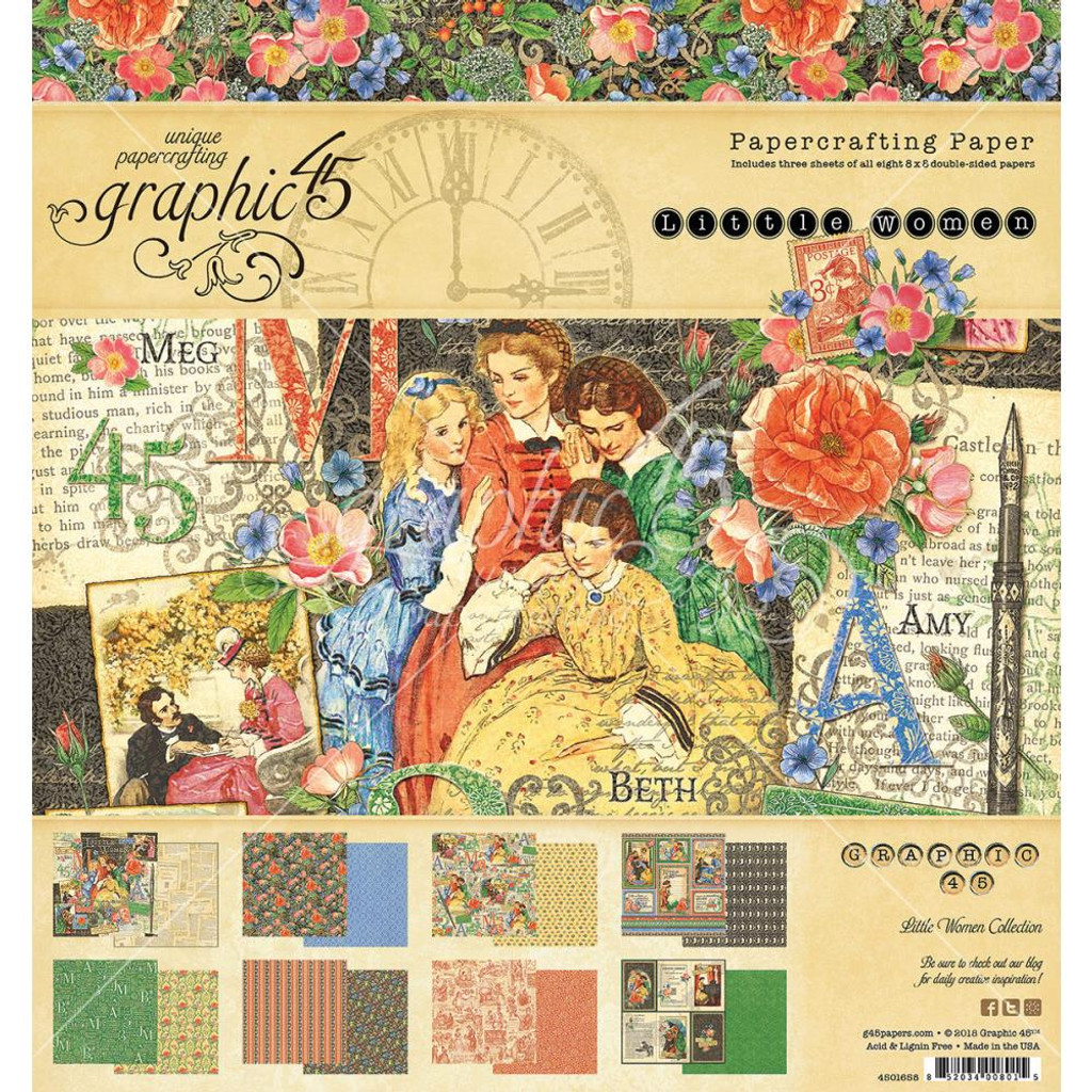 """Little Women Graphic 45 Double-Sided Paper Pad 8""""X8"""""""
