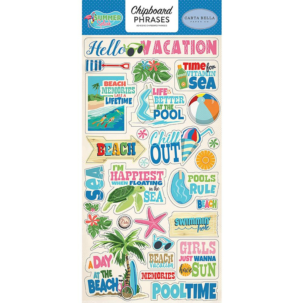 Carta Bella - Chipboard Phrases 6x13 - Summer Splash (CBSPL822)