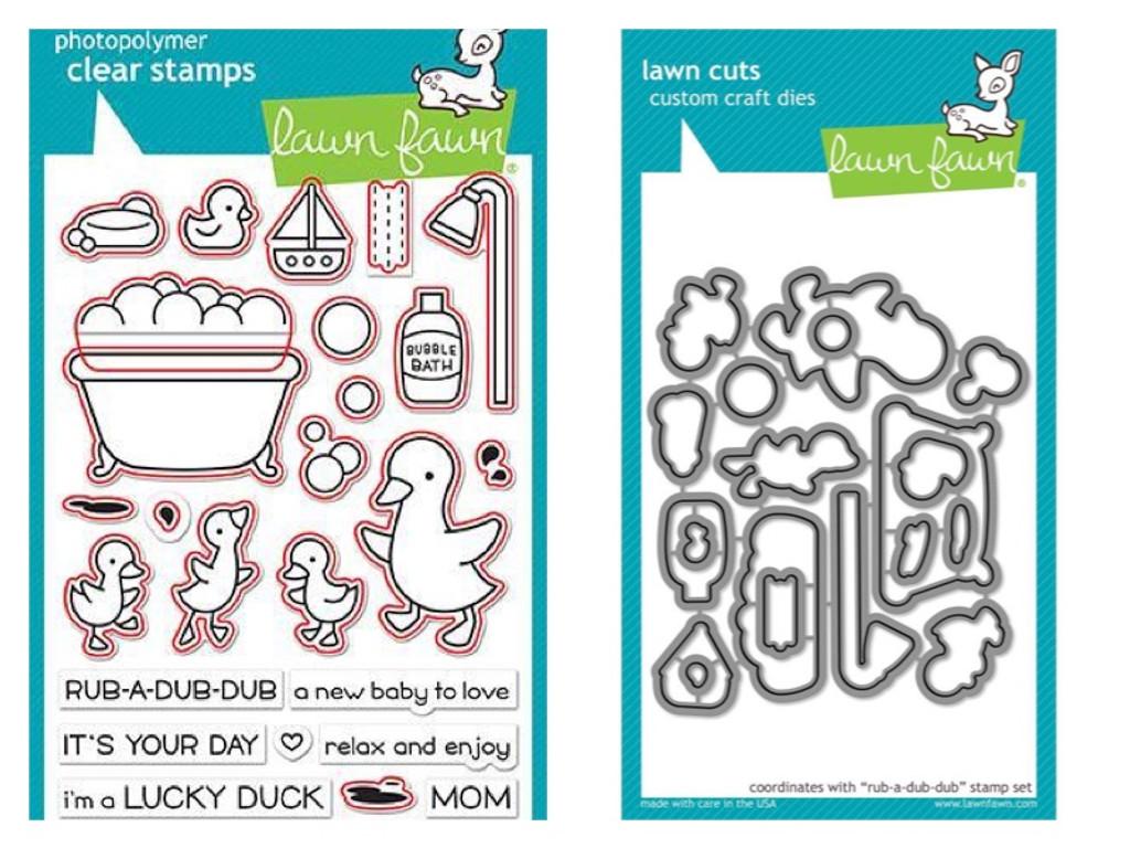 Lawn Fawn - Coordinating Clear Stamp LF1583 & Die LF1584 Bundle - Rub-A-Dub-Dub (LF1583)