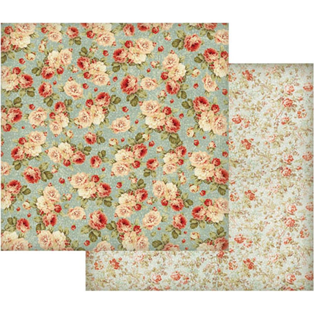 Stamperia - Double sided 12x12 Paper - Floral Wallpaper On Turquoise SBB419