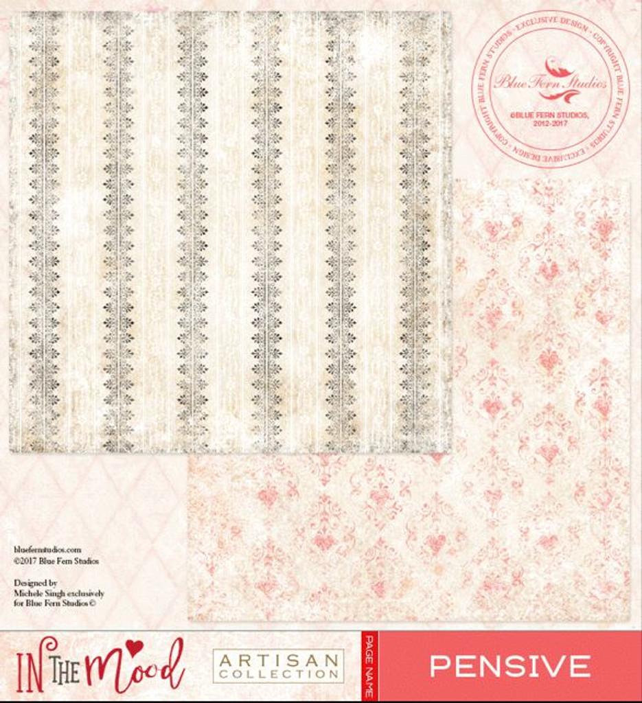 Blue Fern Studios Scrapbooking Paper - In the Mood - Pensive (843181)