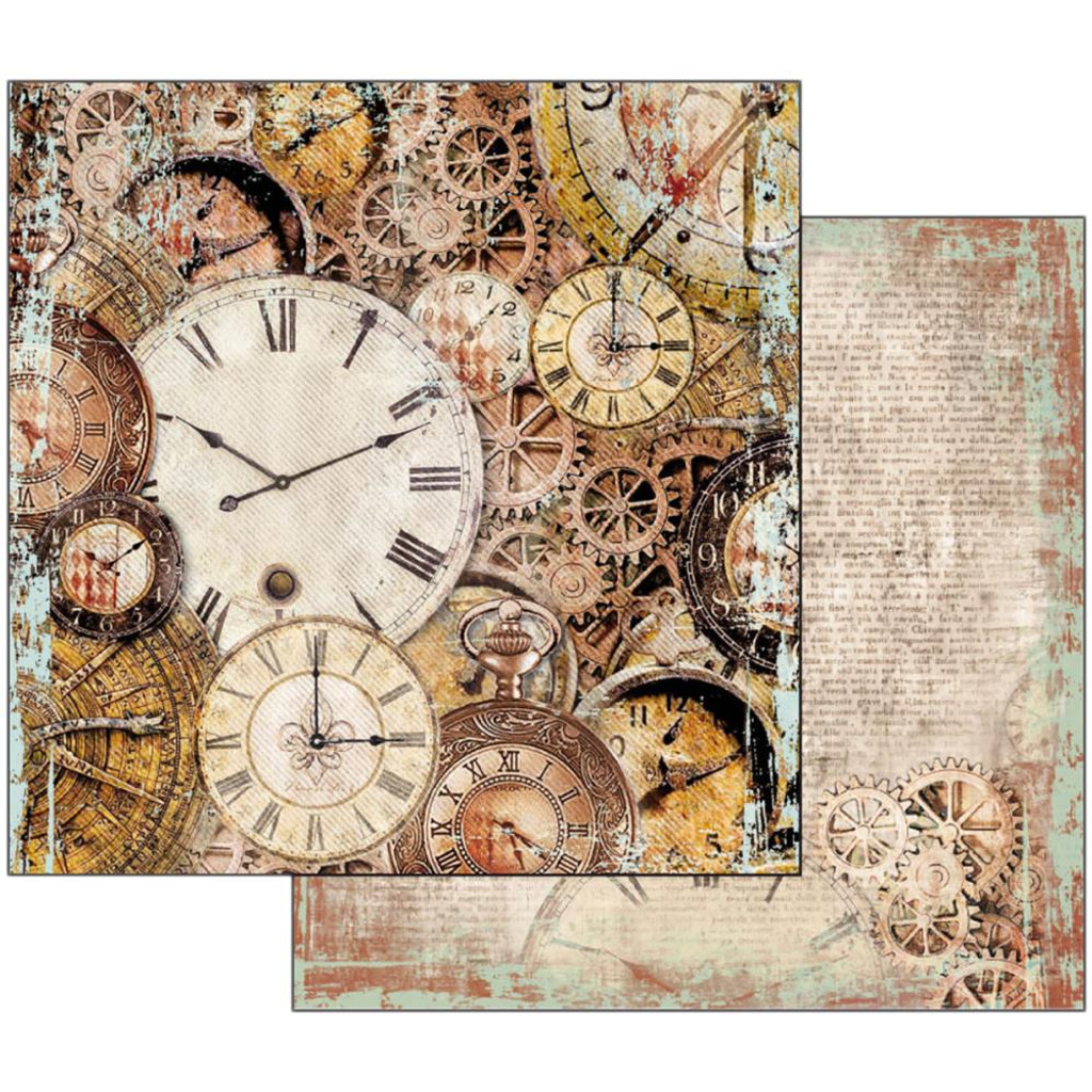 Stamperia  - Double sided 12x12 Paper - Clockwise Clocks With Mechanism SBB531