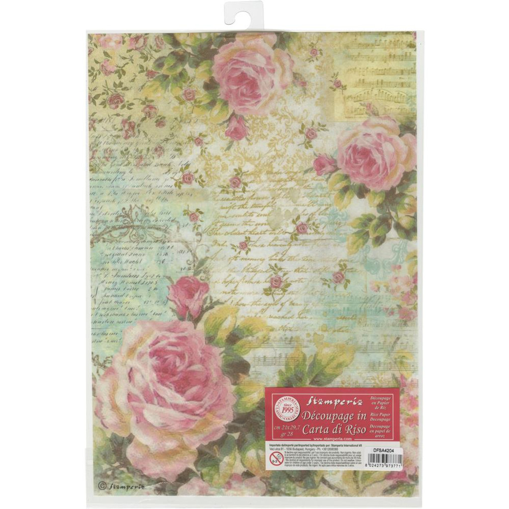 Scrapbook Sheet Rice Paper for Decoupage Painted roses on board