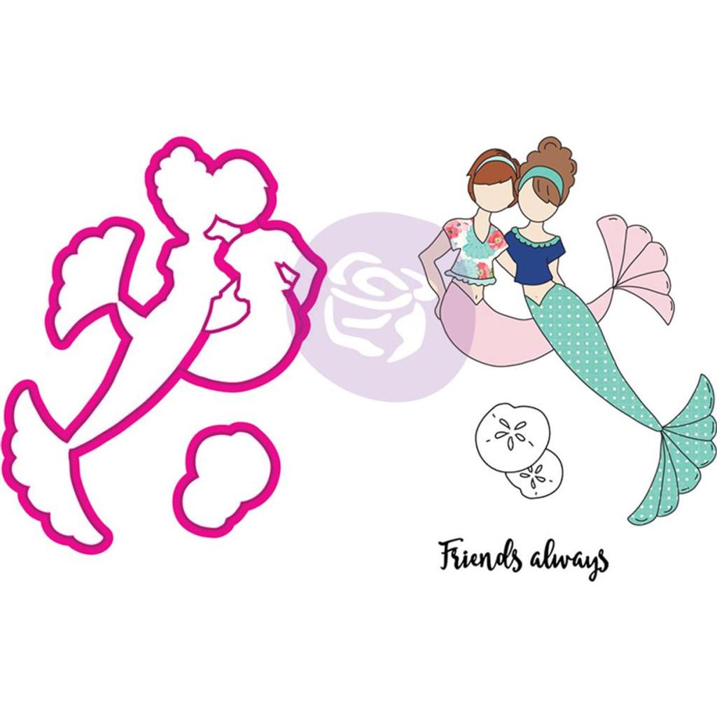 Prima Julie Nutting Stamp & Die Set - Mermaid Kisses - Besties (912567)
