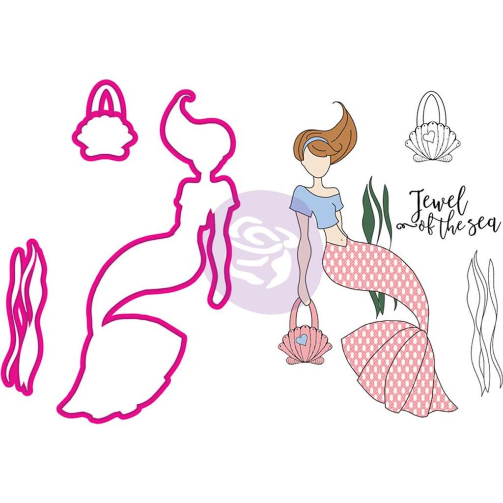 Prima Julie Nutting Stamp & Die Set - Mermaid Kisses - Cordelia Mermaid (912574)