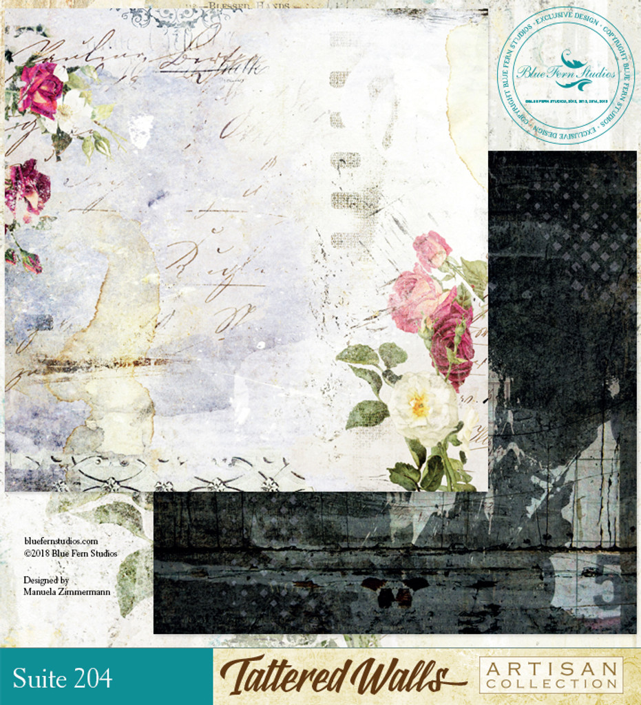 Blue Fern Studios - Tattered Walls 12x12 dbl sided paper - Suite 204