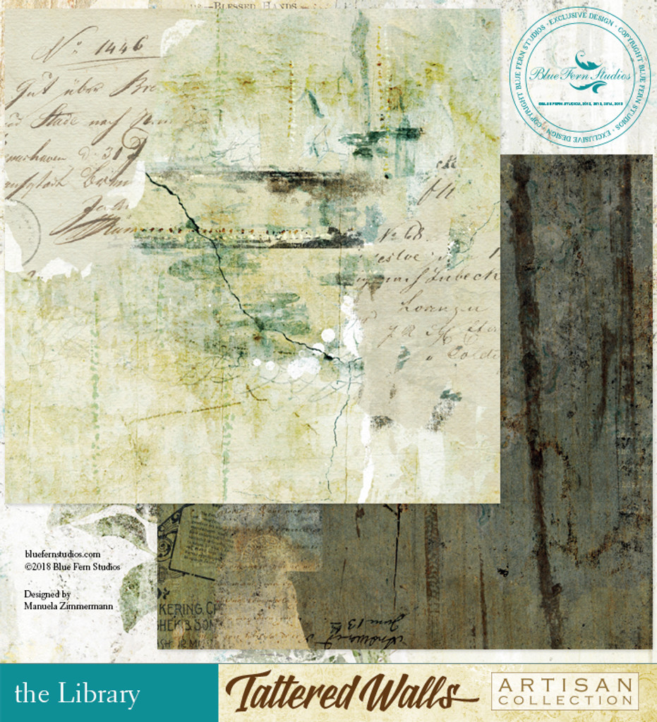 Blue Fern Studios - Tattered Walls 12x12 dbl sided paper - The Library