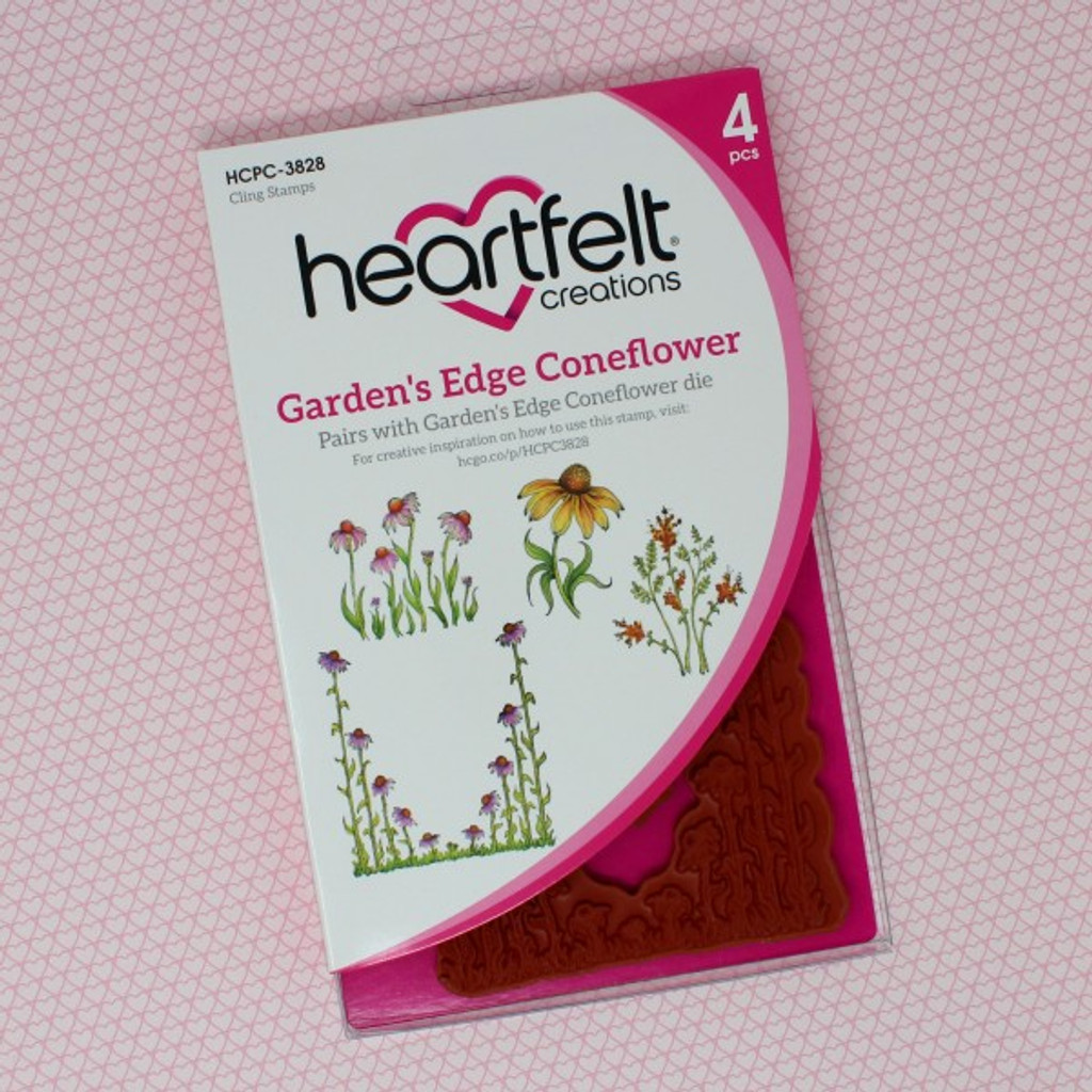 Heartfelt Creations Backyard Blossoms Collection - Garden's Edge Coneflower Cling Stamp Set ( HCPC-3828)