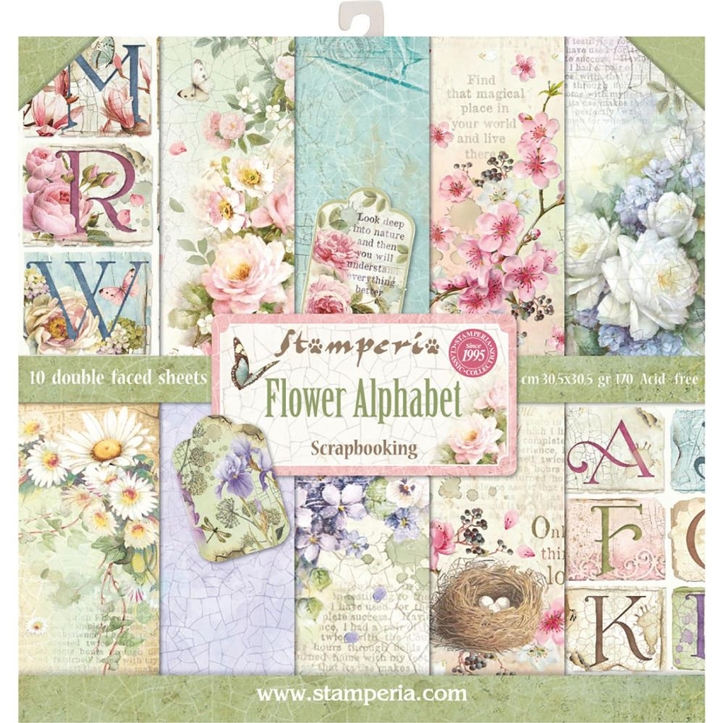 Stamperia - 12 x 12 Collection Pack - Flower Alphabet SBBL30