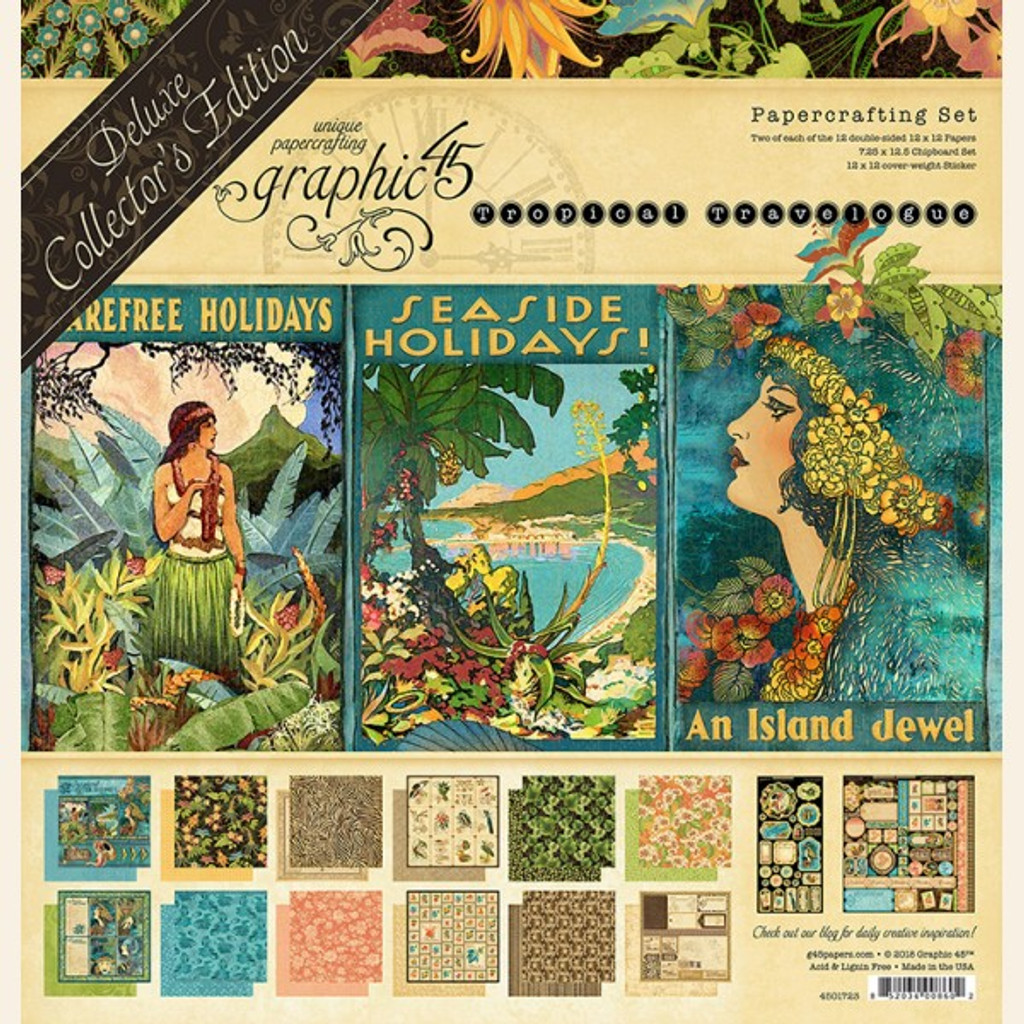 """Tropical Travelogue - Graphic 45 Deluxe Collector's Edition Pack 12""""X12"""" (G4501723)"""