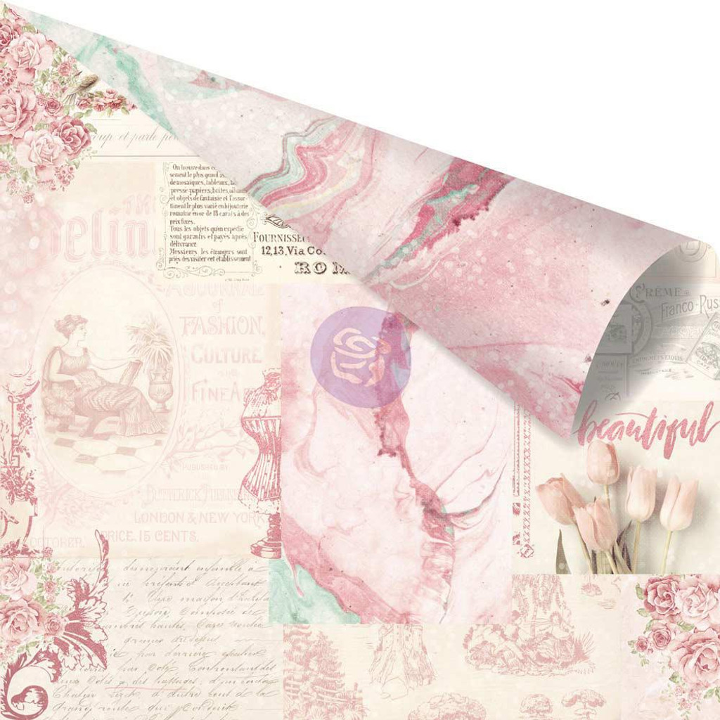 Prima - 6 sheets Double sided 12x12 Paper w/Foil Accents - Love Story