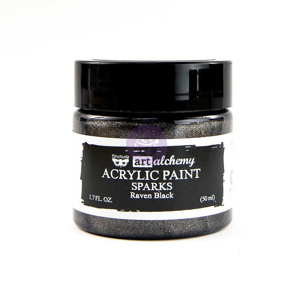 Finnabair Art Alchemy PAINT - Sparks - Raven Black 50ml