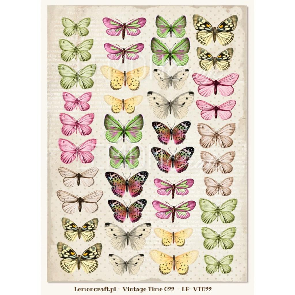 Lemon Craft - House of Roses - Decorative paper - Cut-apart Butterfly Images - Vintage Time 022 LP-VT022