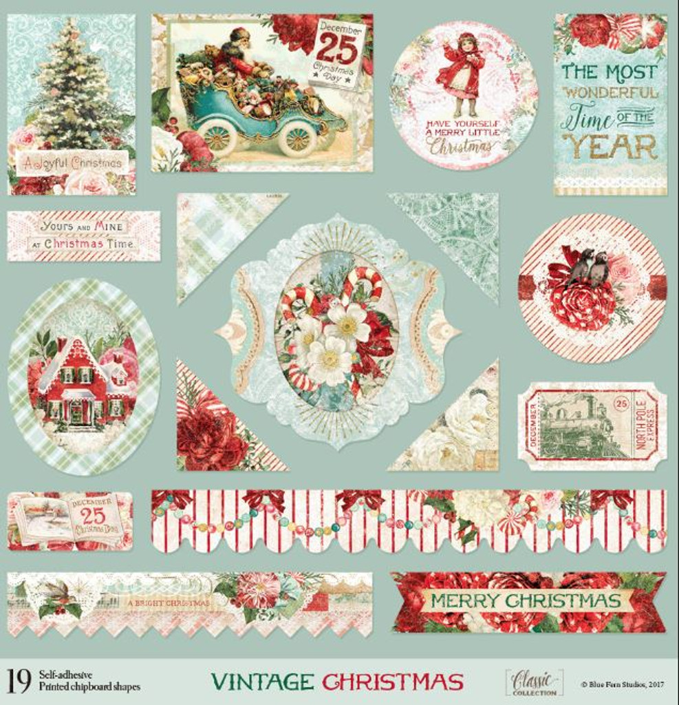 Blue Fern Studios - Chipboard 12x12 - Vintage Christmas (831287)