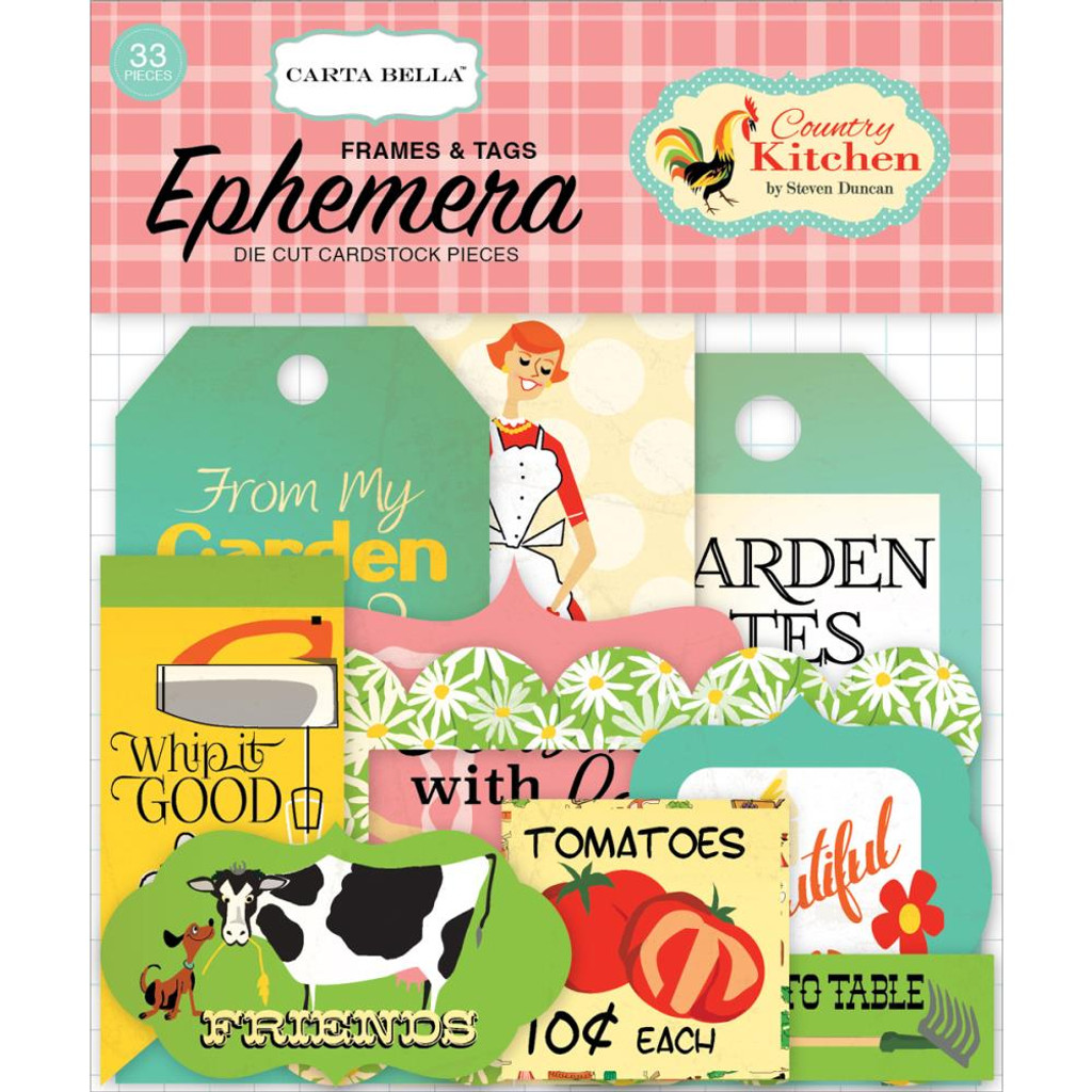 Carta Bella - Frames & Tags Die Cut Cardstock Pieces - Country Kitchen