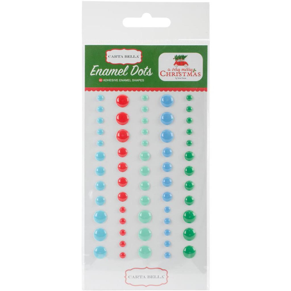 Carta Bella - Adhesive Enamel Dots - 60/Pkg  - A Very Merry Christmas