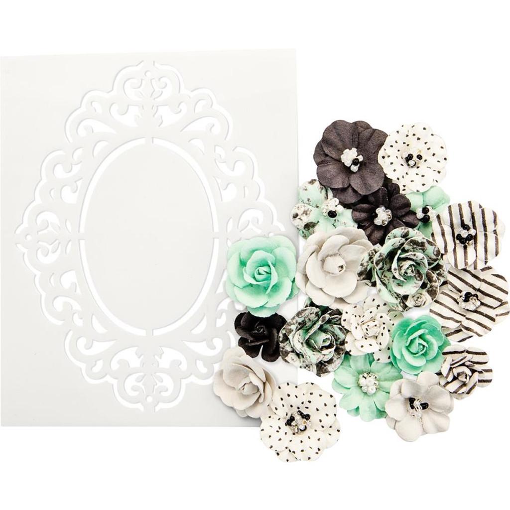 Prima - Flirty Fleur Flowers & Stencil - Minty Sprinkles 634551