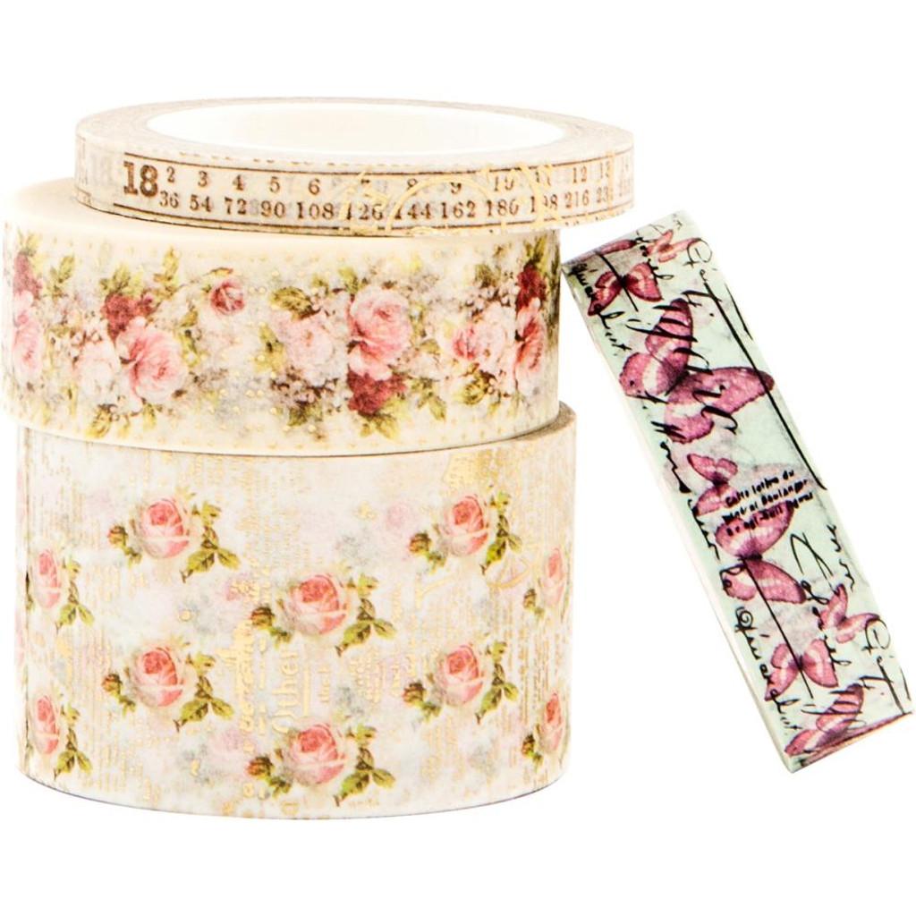 Prima Misty Rose Decorative Washi Tape P631000 Vintage Story Flower Shabby 3