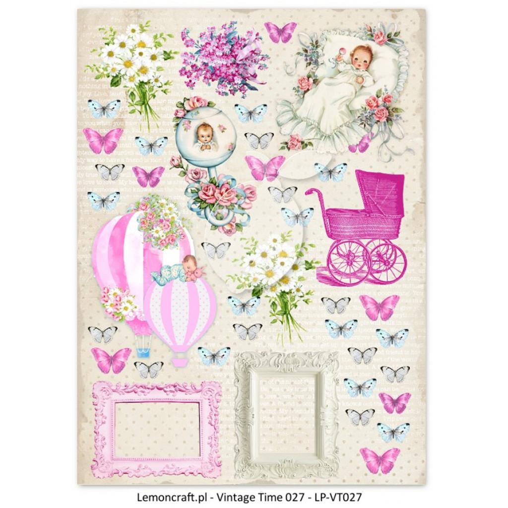 Lemon Craft - Lullaby - Decorative paper - Cut-apart Baby Girl Images - Vintage Time 027 (LP-VT027)