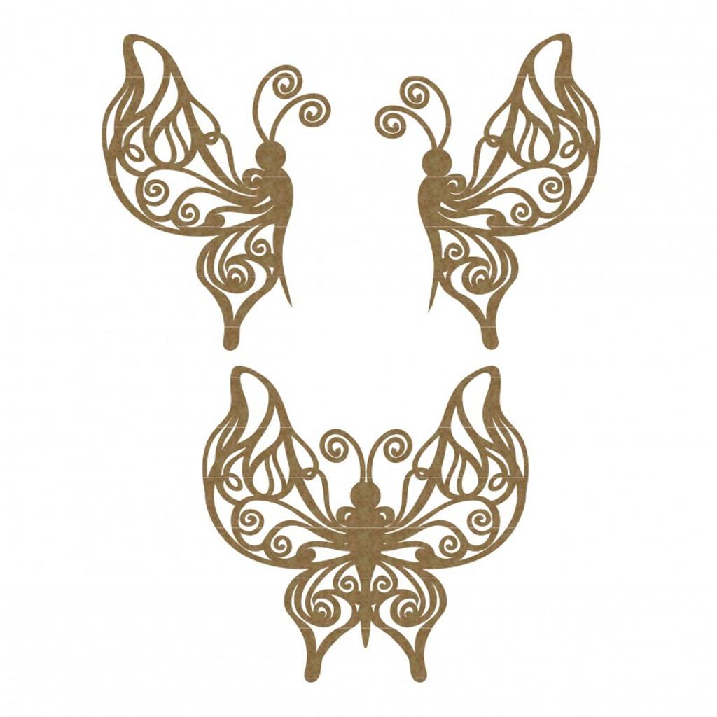 Creative Embellishments - Chipboard - Flourish Butterflies Set 3