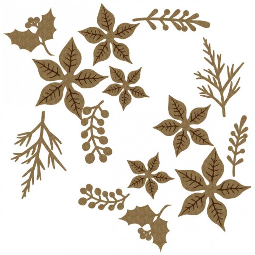 Creative Embellishments - Chipboard - Poinsettia Set