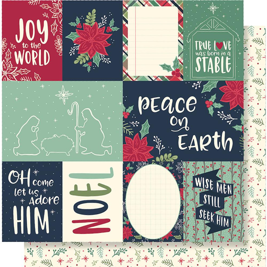 "Simple Stories - Peace on Earth - collection 12""X12"" double-sided papers and Sticker Sheet (POE10397)"