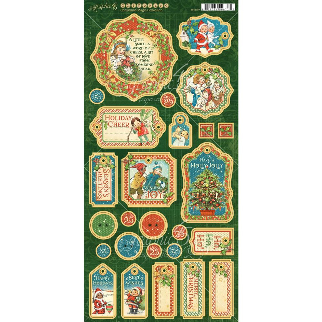 Graphic 45 - Christmas Magic - Chripboard Die-Cuts 6x12