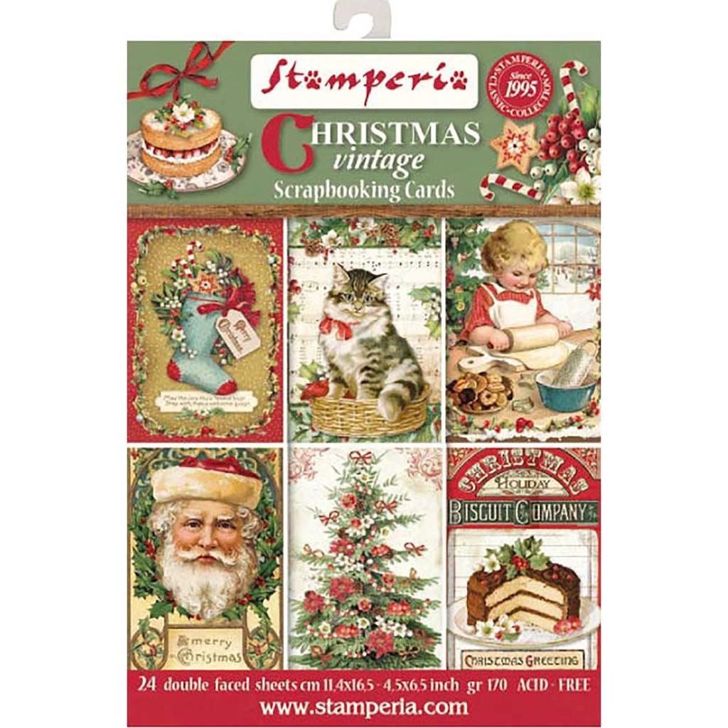 "Stamperia - Cards Pad 4.5""X6.5"" 24/Pkg - Christmas Vintage SBBPC07"