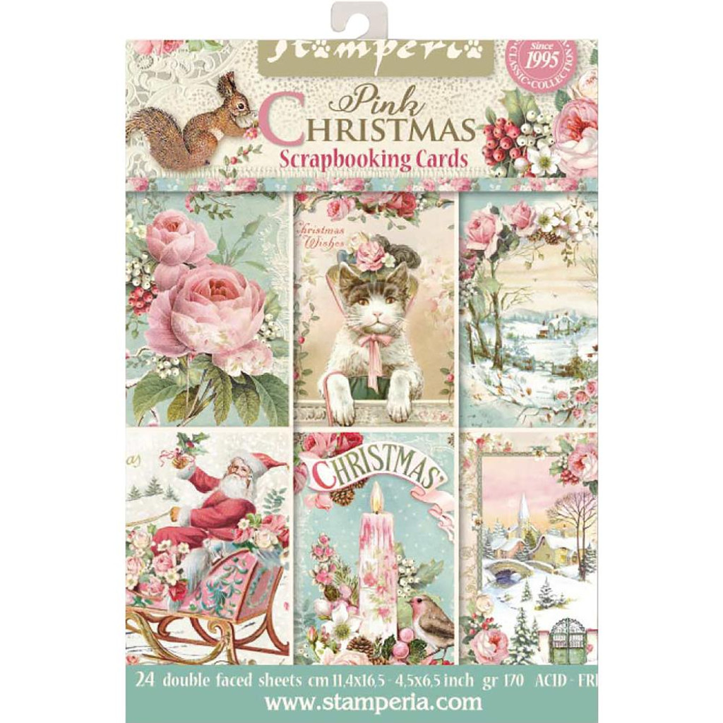 "Stamperia - Cards Pad 4.5""X6.5"" 24/Pkg - Pink Christmas SBBPC08"