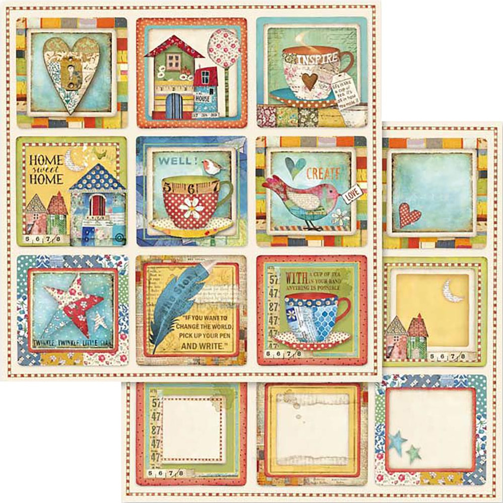 Stamperia - Double sided 12x12 Paper - Patchwork - Patchwork Cards (SBB572)
