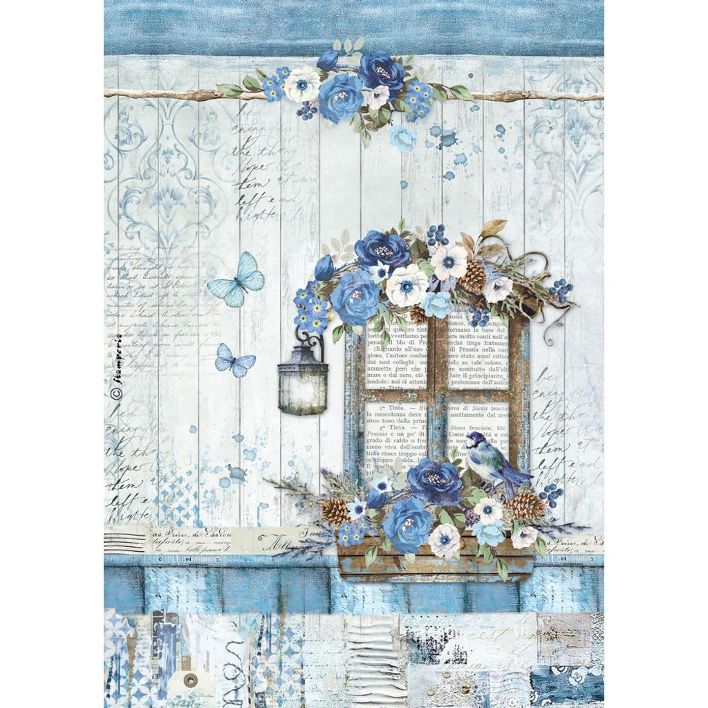 Stamperia - Blue Land Window - Decoupage Rice Paper 8.25 x 11.5 (DFSA4338)
