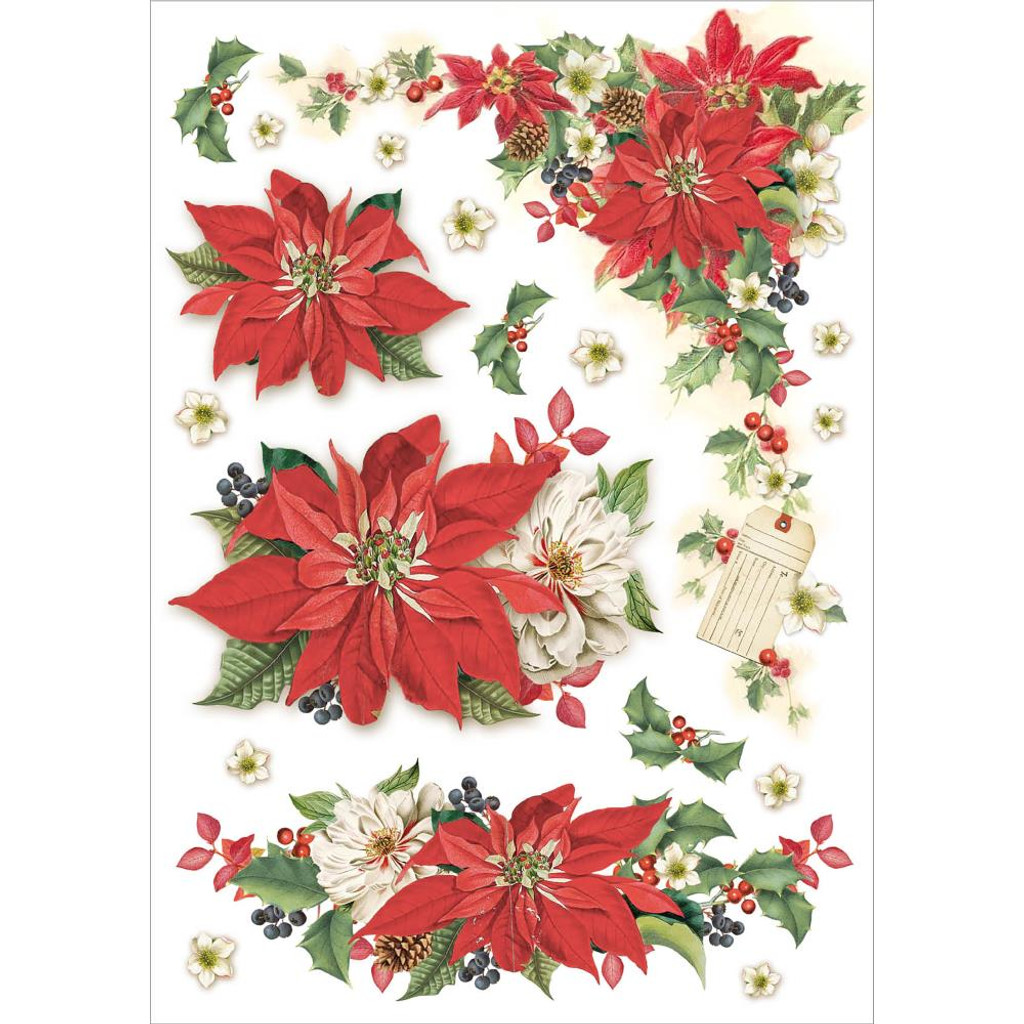 Stamperia - Christmas Vintage Stars - Decoupage Rice Paper 8.25 x 11.5 DFSA4310