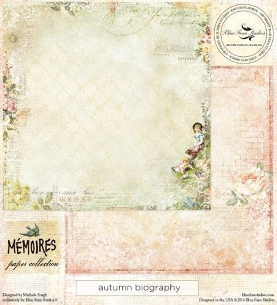 Blue Fern Studios - Memories 12x12 dbl sided paper - Autumn Biography (139475)