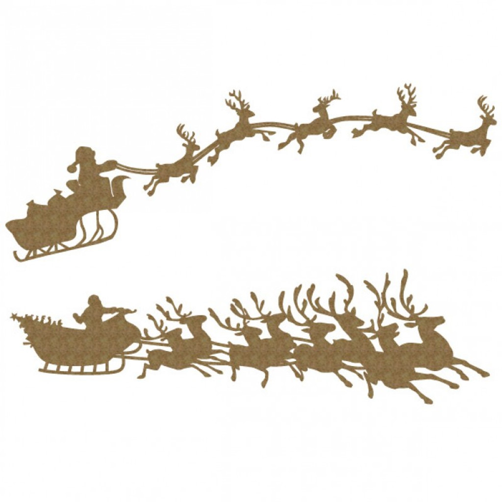 Creative Embellishments - Chipboard - Holiday Christmas Santa's Sleigh Set