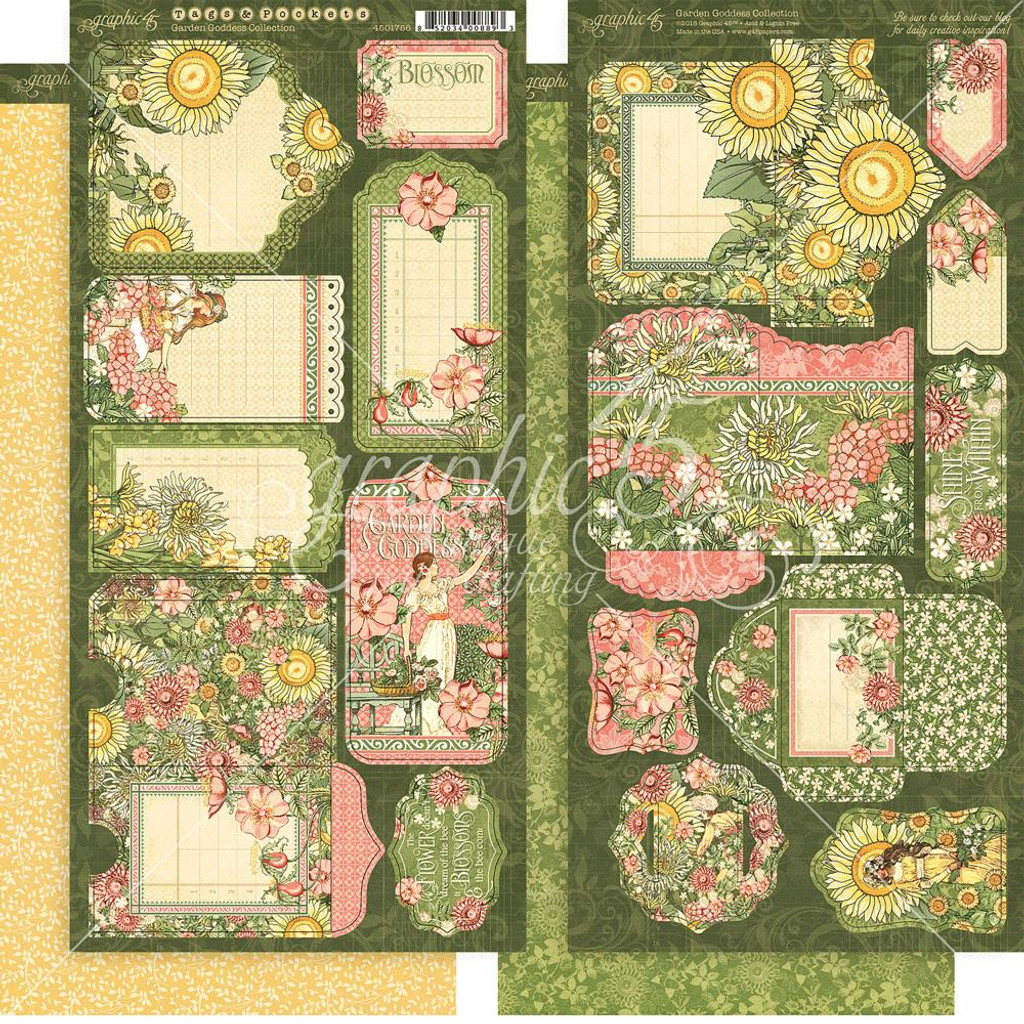 "Graphic 45 - Tags & Pockets Cardstock Die-Cuts 6""X12"" Sheets 2/Pkg - Garden Goddess G4501756"