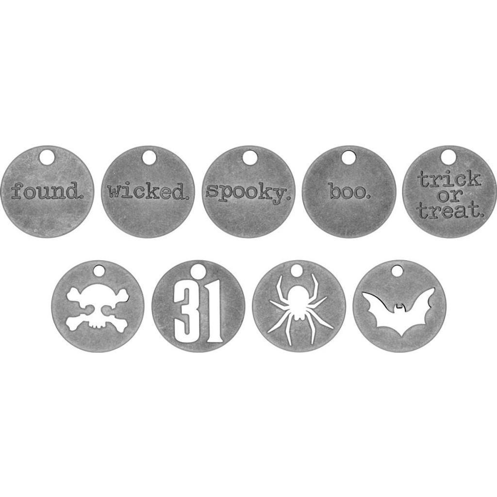 Tim Holtz - Idea-ology - Metal Typed Tokens 18/Pkg - Halloween Words