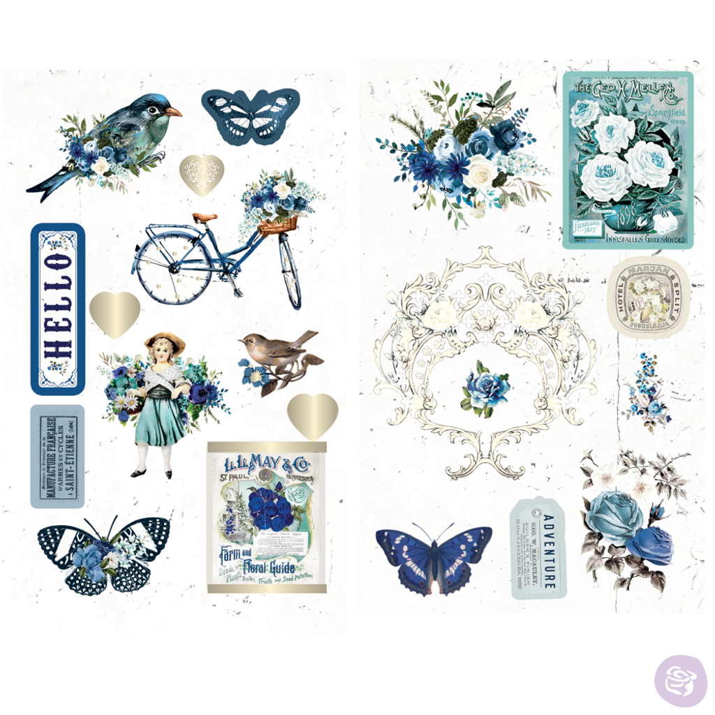 Prima - Chipboard Stickers - 23 pieces - Georgia Blues