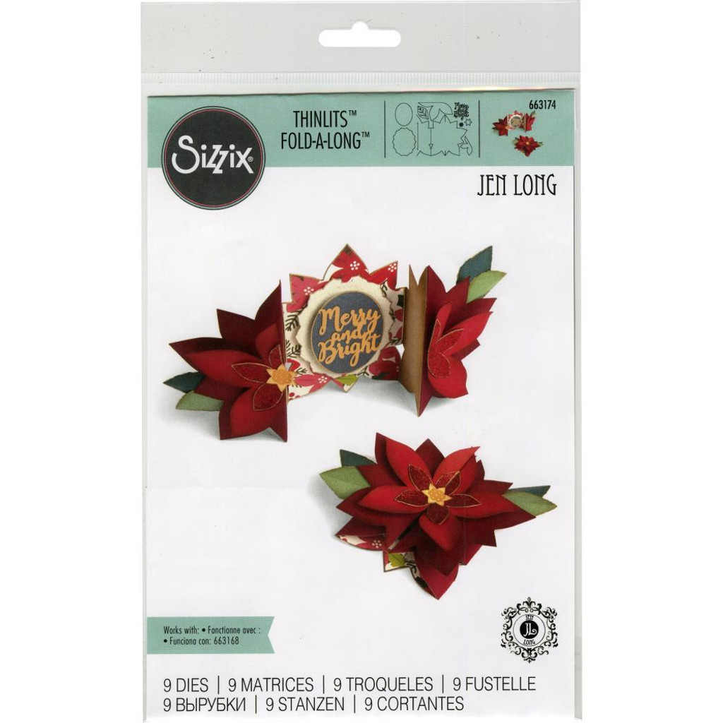 Sizzix - Jen Long - Thinlet Dies - Poinsettia Fold-A-Long Card