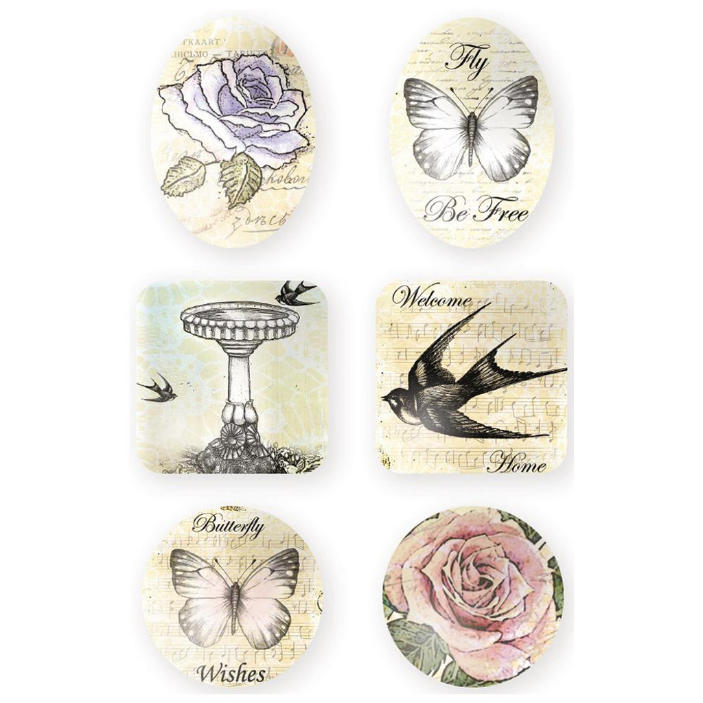 Ultimate Crafts - Cabochons 6/Pkg - Rambling Rose UL157748